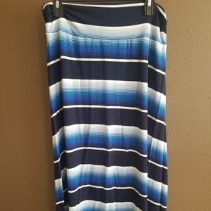 Multi blue strip maxi skirt